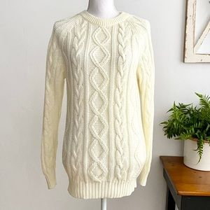 Northern Isles Cream Cable Knit Crewneck Pullover